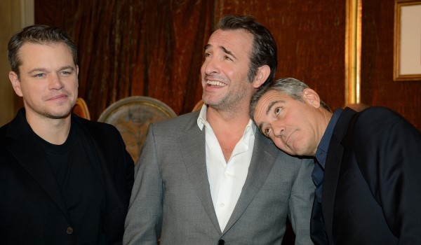 Matt Damon, Jean Dujardin, George Clooney attending the 'The Monuments Men' photocall held at the Bristol Hotel in Paris, France on February 12, 2014. Photo by Nicolas Briquet/ABACAPRESS.COM