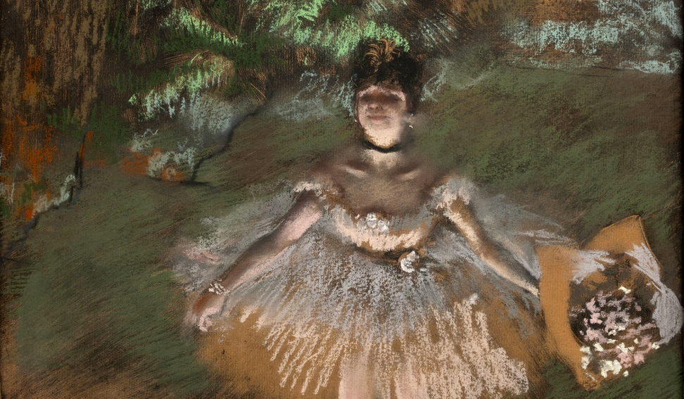 Edgar Degas Dancer Onstage with a Bouquet c. 1876 Pastel over monotype on laid paper 10 5/8 x 14 7/8 in. (27 x 37.8 cm)