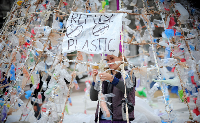 The Occupy DC Christmas tree made of plastic bottles and plastic bags is on display at Freedom Plazza December 5, 2011 in Washington, DC. Photo by Olivier Douliery/ABACAUSA.com