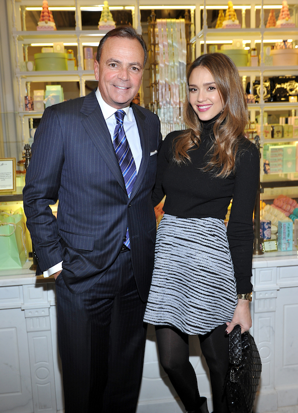LOS ANGELES, CA - DECEMBER 20: Caruso founder and CEO Rick Caruso and actress Jessica Alba attend the opening of Laduree at The Grove in Los Angeles hosted by Rick Caruso and Jessica Alba in Partnership with Baby2Baby at The Grove on December 20, 2016 in Los Angeles, California. (Photo by Donato Sardella/Getty Images for Caruso)