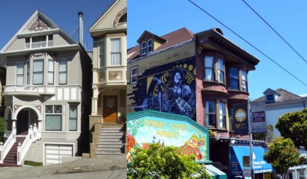 À gauche, la maison où se trouvait l'appartement de Janis Joplin. À droite, la maison où Jimi Hendrix a vécu. (Photo: Wikimédia)